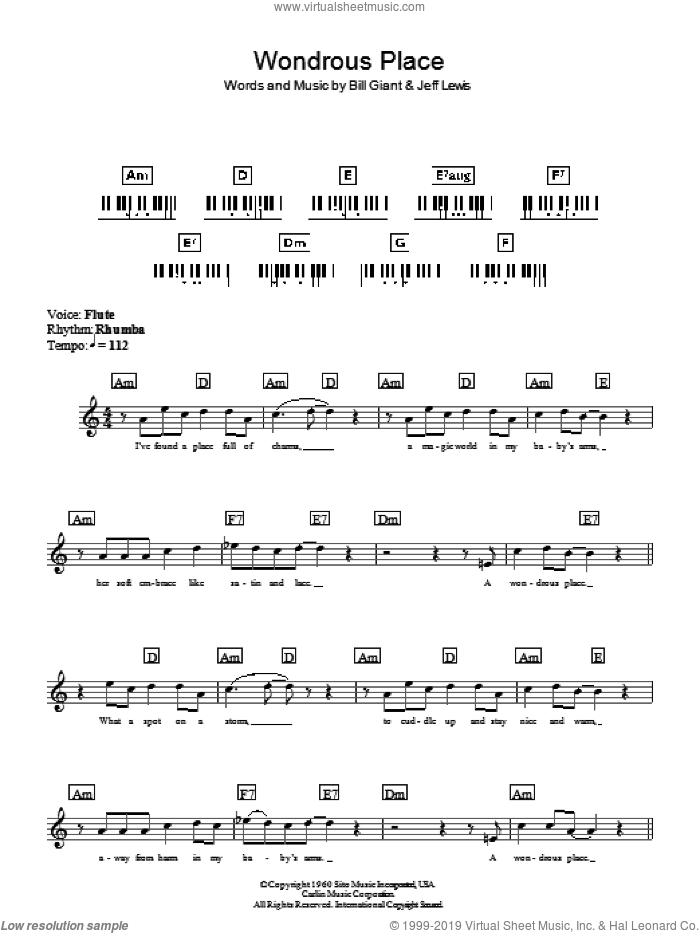 Wondrous Place sheet music for piano solo (chords, lyrics, melody) by Jeff Lewis. Score Image Preview.