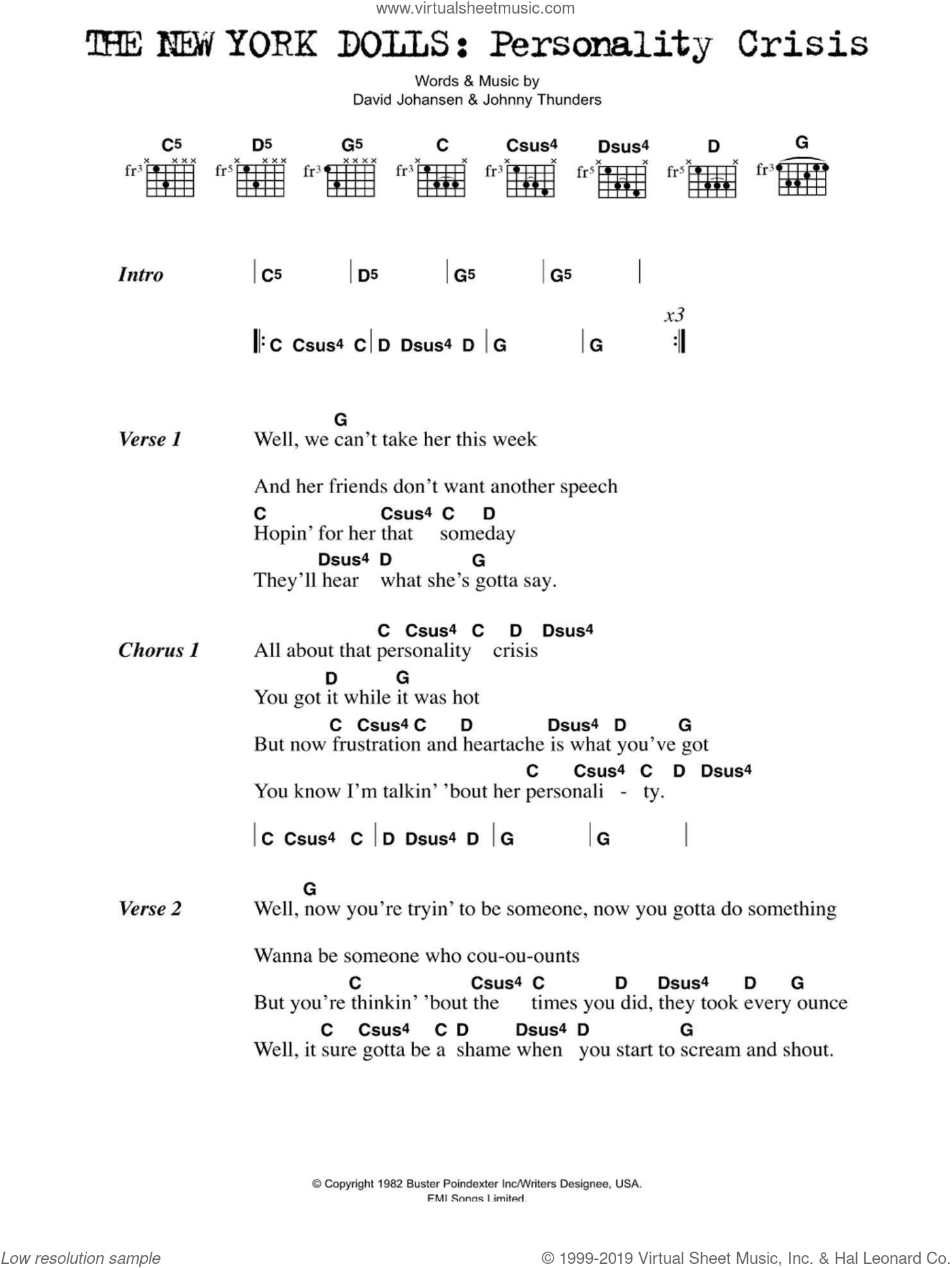 Personality Crisis sheet music for guitar (chords) by The New York Dolls, David Johansen and Johnny Thunders, intermediate skill level