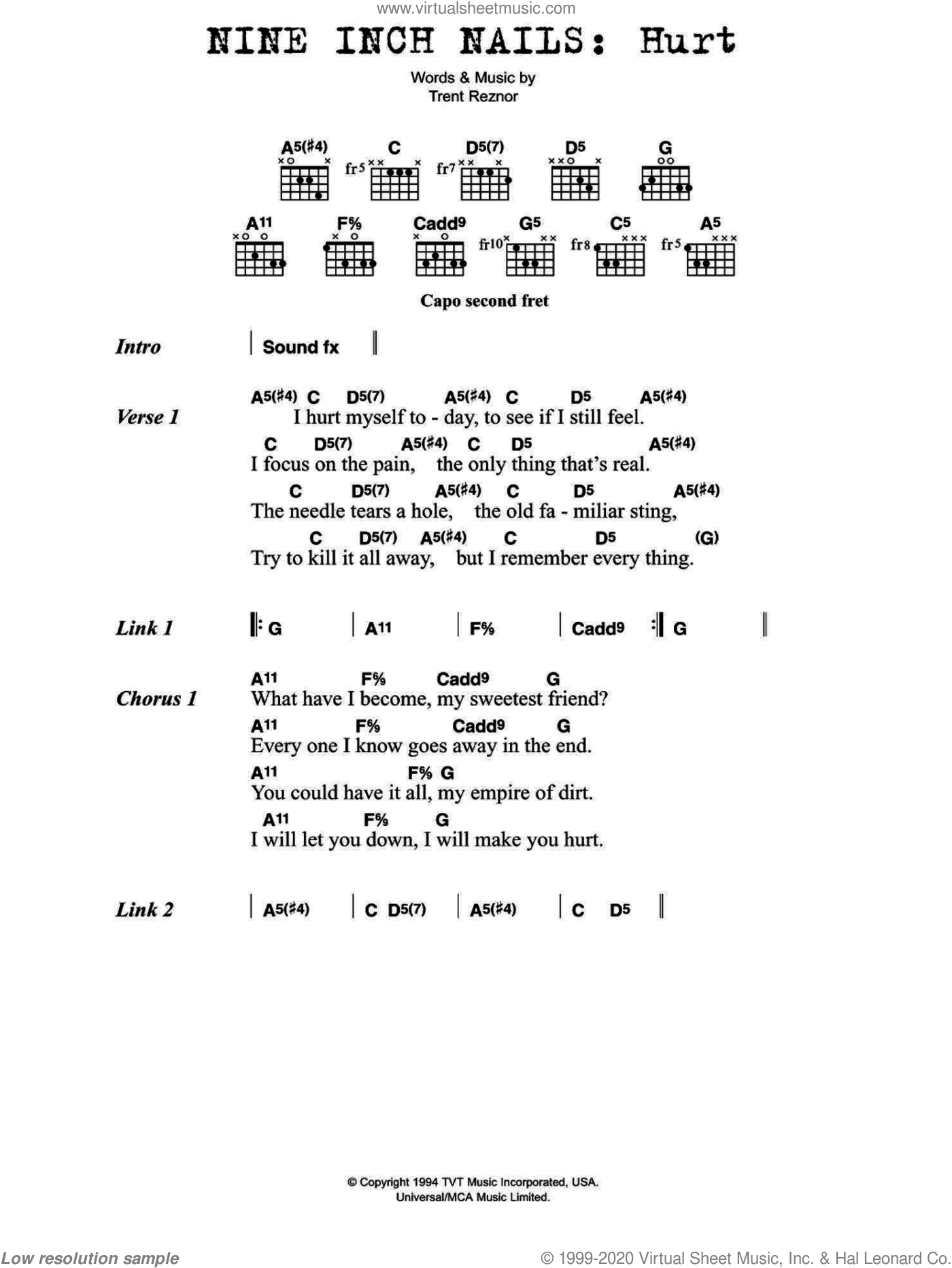 Hurt sheet music for guitar (chords) by Nine Inch Nails, Johnny Cash and Trent Reznor, intermediate skill level