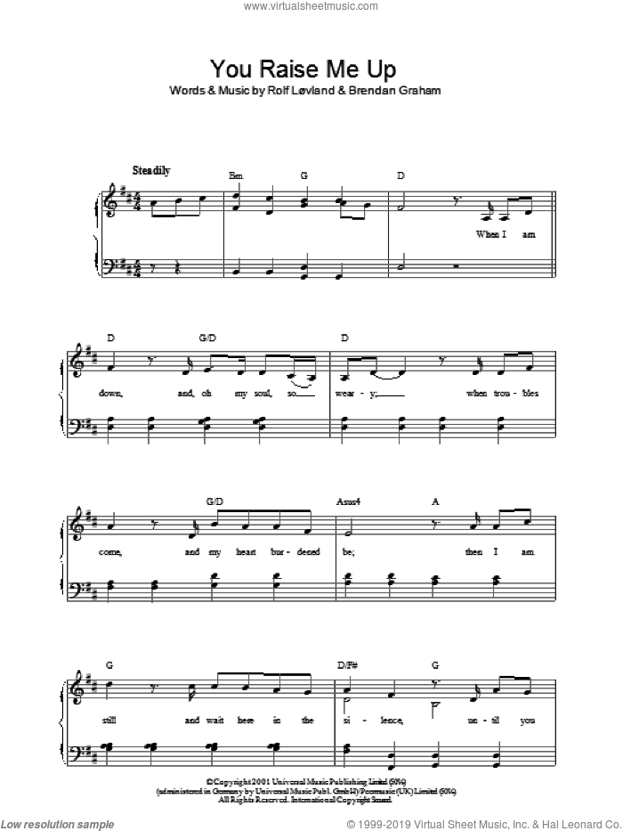 You Raise Me Up sheet music for piano solo by Josh Groban, Westlife, Brendan Graham and Rolf Lovland, easy. Score Image Preview.