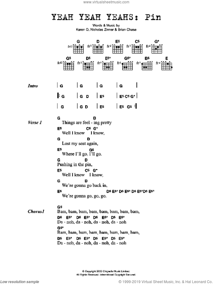 Pin sheet music for guitar (chords) by Yeah Yeah Yeahs, Brian Chase, Karen O and Nick Zinner, intermediate skill level