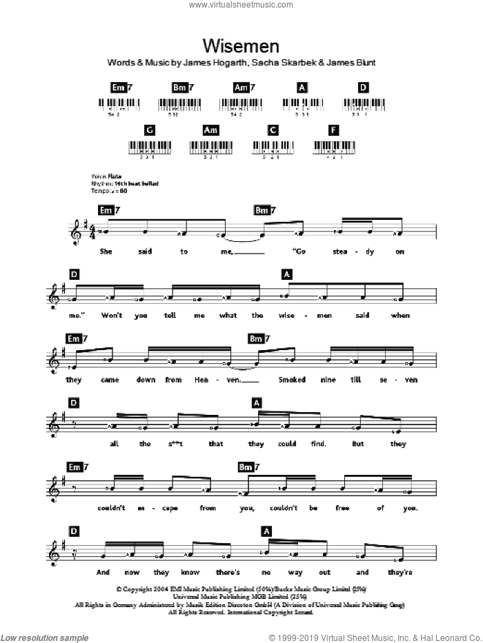 Wisemen sheet music for piano solo (chords, lyrics, melody) by James Blunt, intermediate piano (chords, lyrics, melody). Score Image Preview.