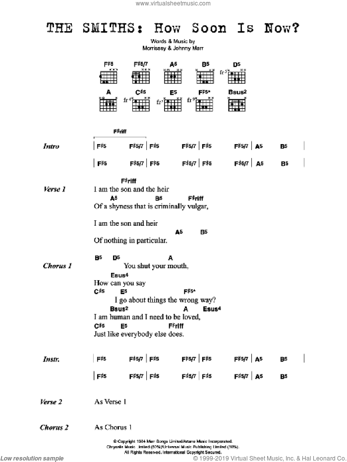 How Soon Is Now? sheet music for guitar (chords) by The Smiths, Johnny Marr and Steven Morrissey, intermediate skill level