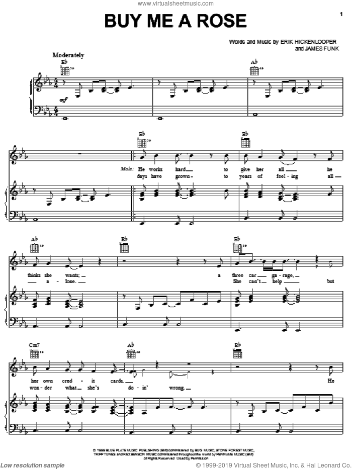 Buy Me A Rose sheet music for voice, piano or guitar by Kenny Rogers, Alison Krauss, Luther Vandross, Erik Hickenlooper and Jim Funk, intermediate skill level