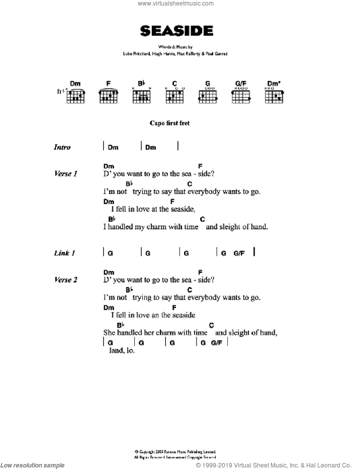 Seaside sheet music for guitar (chords) by Hugh Harris, The Kooks, Luke Pritchard and Paul Garred. Score Image Preview.
