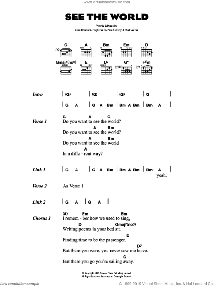See The World sheet music for guitar (chords) by Hugh Harris