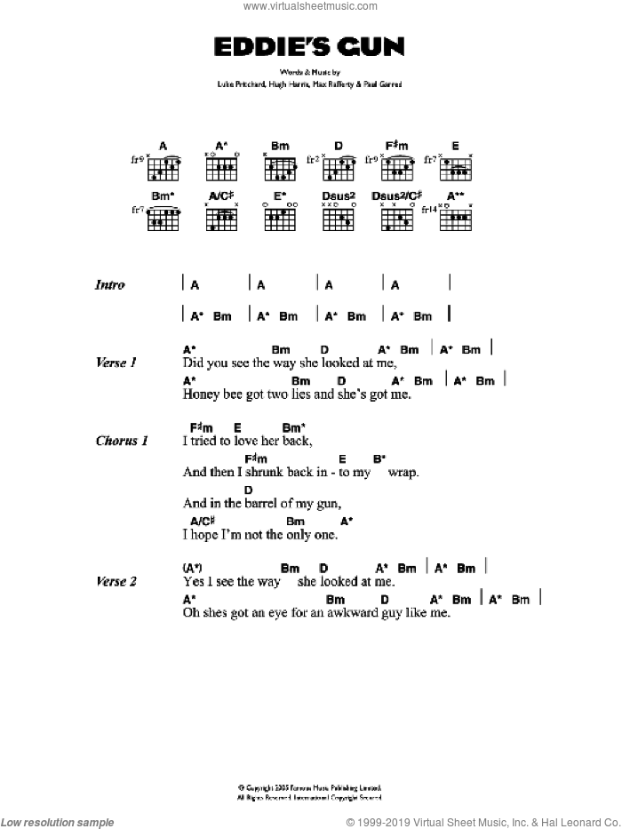 Eddie's Gun sheet music for guitar (chords) by Luke Pritchard and The Kooks. Score Image Preview.