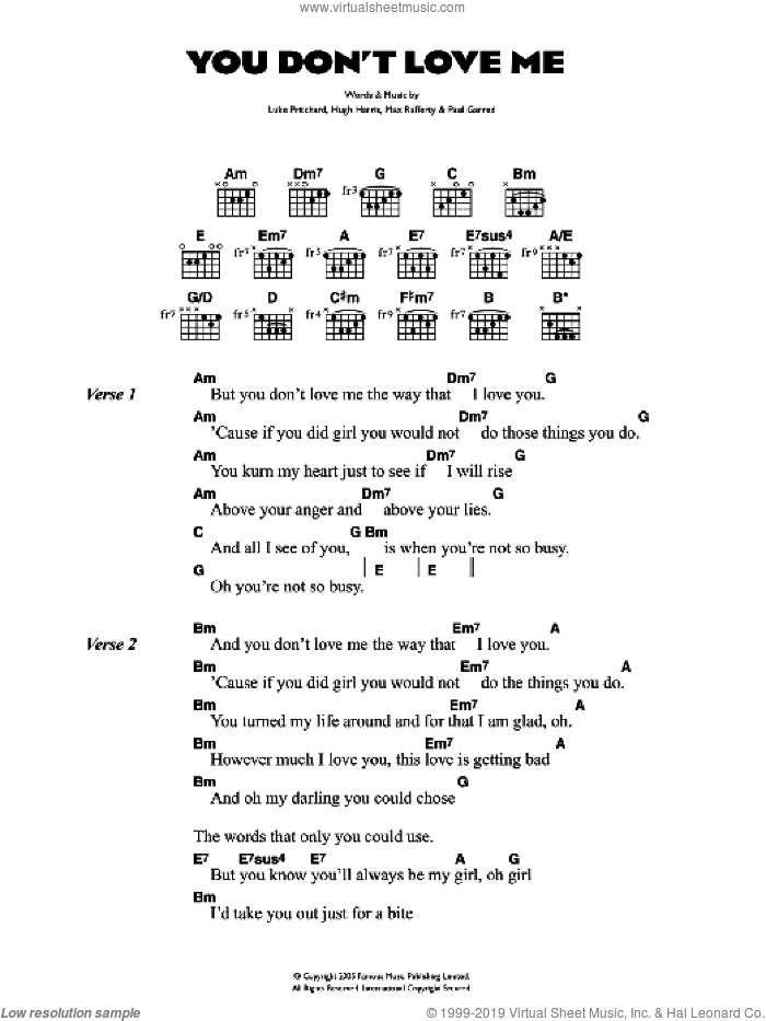 You Don't Love Me sheet music for guitar (chords) by The Kooks, intermediate guitar (chords). Score Image Preview.
