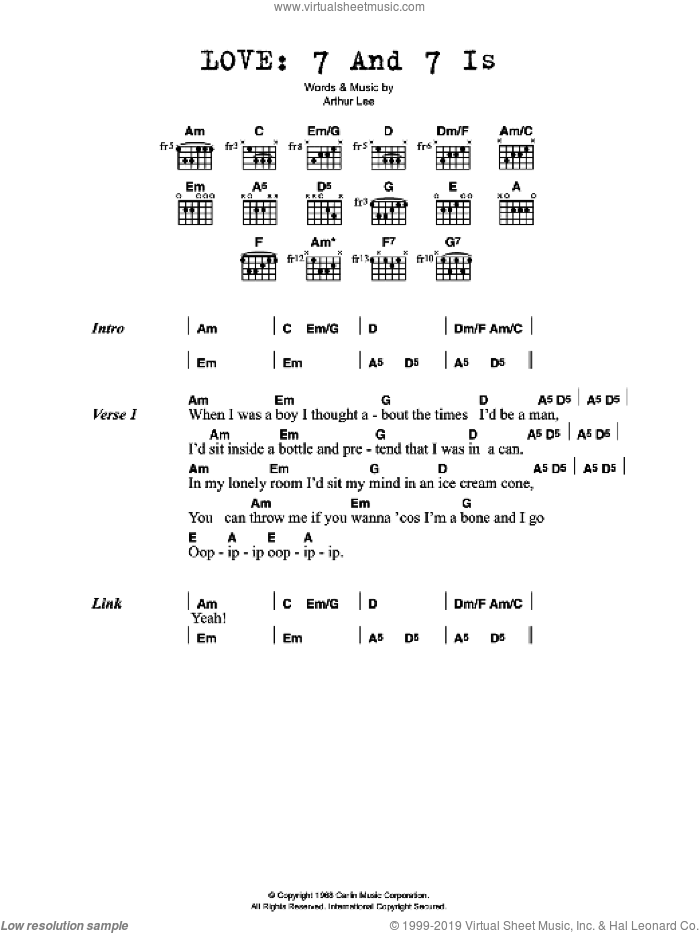 7 And 7 Is sheet music for guitar (chords) by Arthur Lee. Score Image Preview.