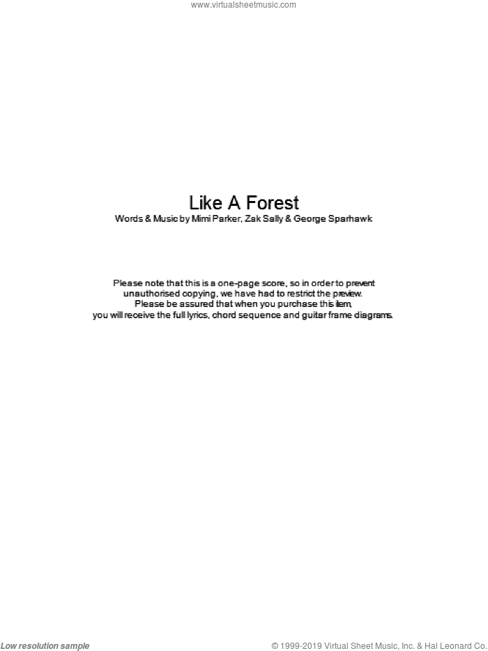 Like A Forest sheet music for guitar (chords) by George Sparhawk and Zak Sally. Score Image Preview.