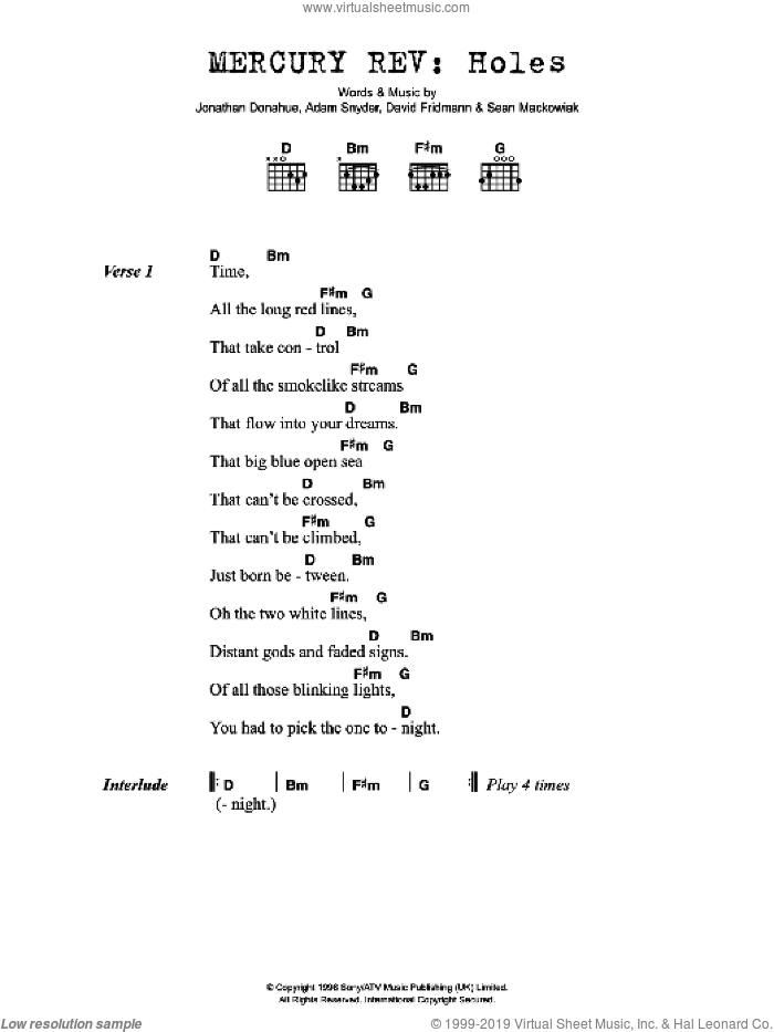 Holes sheet music for guitar (chords) by Mercury Rev, Adam Snyder, David Fridmann, Jonathan Donahue and Sean Mackowiak, intermediate. Score Image Preview.