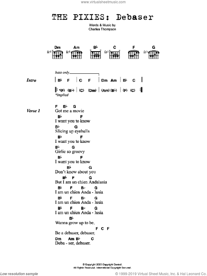 Debaser sheet music for guitar (chords) by Charles Thompson. Score Image Preview.