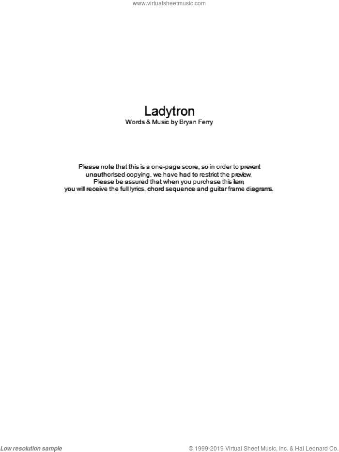 Ladytron sheet music for guitar (chords) by Bryan Ferry