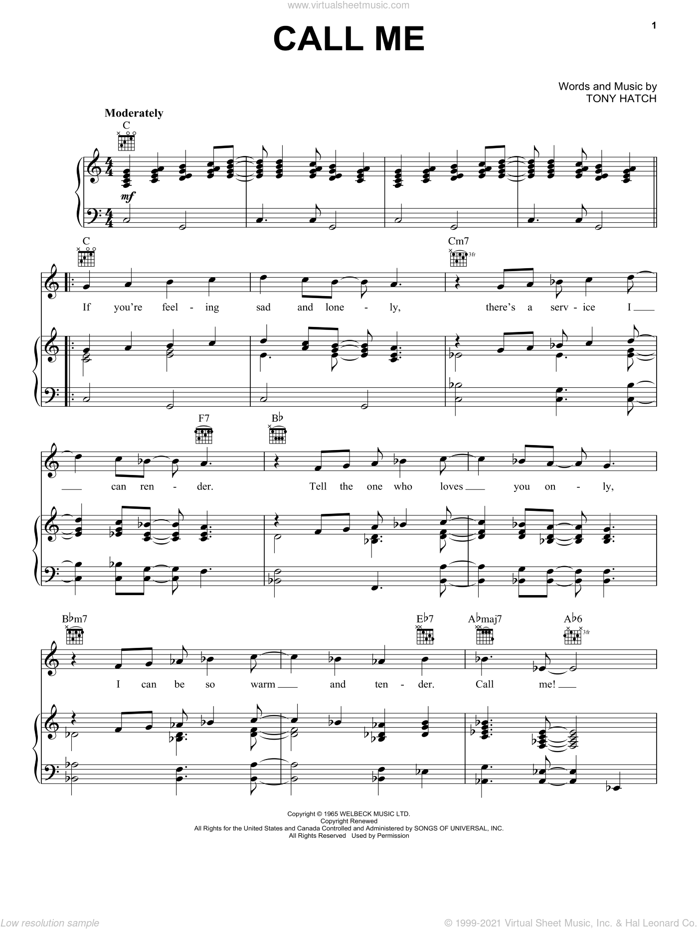Call Me sheet music for voice, piano or guitar by Petula Clark, Astrud Gilberto, Chris Montez, Nancy Wilson and Tony Hatch, intermediate skill level
