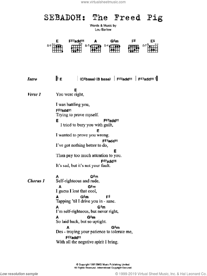 The Freed Pig sheet music for guitar (chords) by Lou Barlow. Score Image Preview.