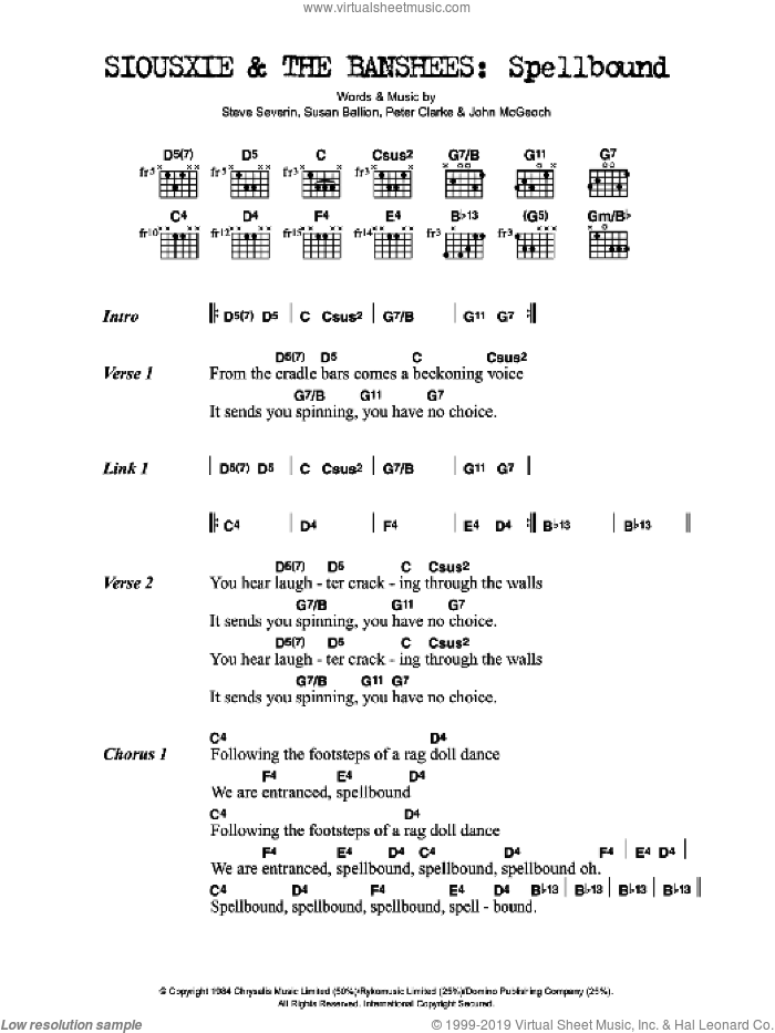 Spellbound sheet music for guitar (chords) by Siouxsie & The Banshees, intermediate guitar (chords). Score Image Preview.