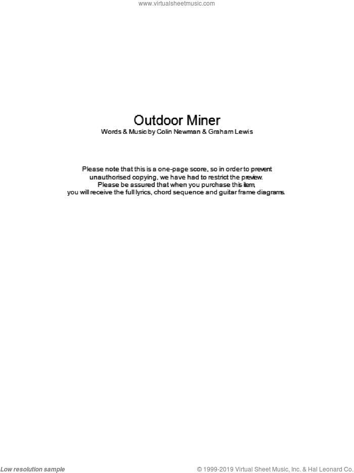 Outdoor Miner sheet music for guitar (chords) by Colin Newman