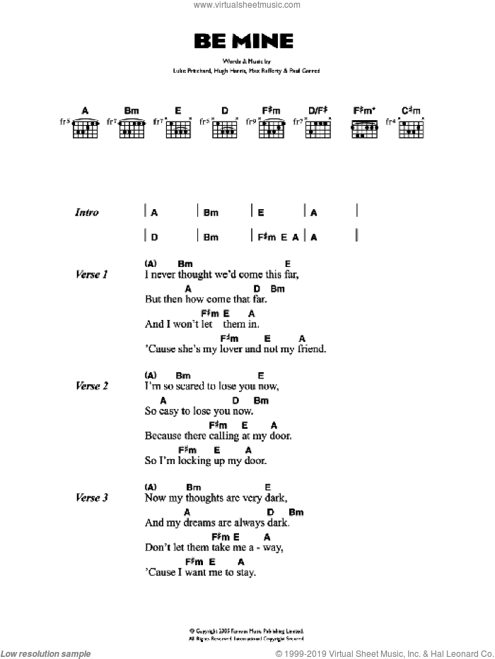 Be Mine sheet music for guitar (chords) by Hugh Harris, The Kooks, Luke Pritchard and Paul Garred. Score Image Preview.