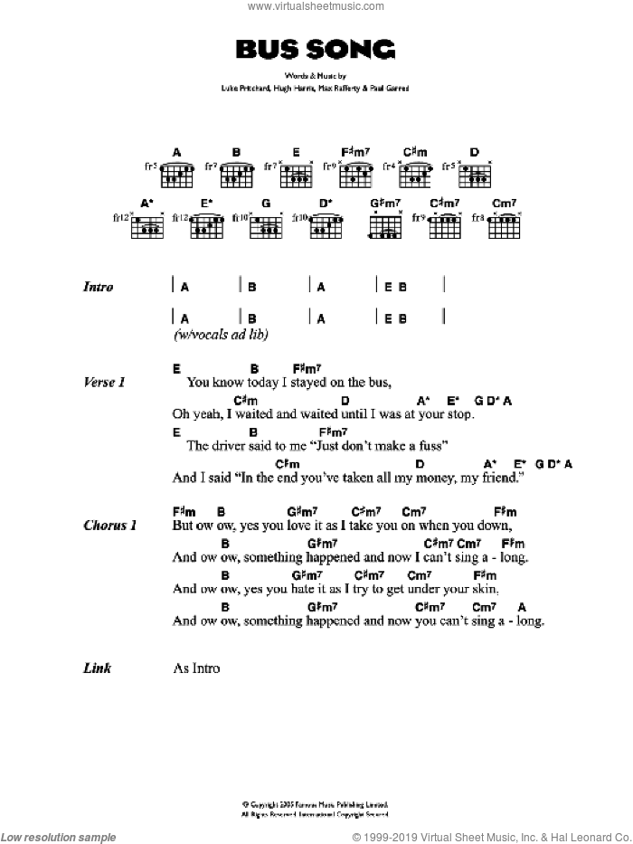 Bus Song sheet music for guitar (chords) by Hugh Harris