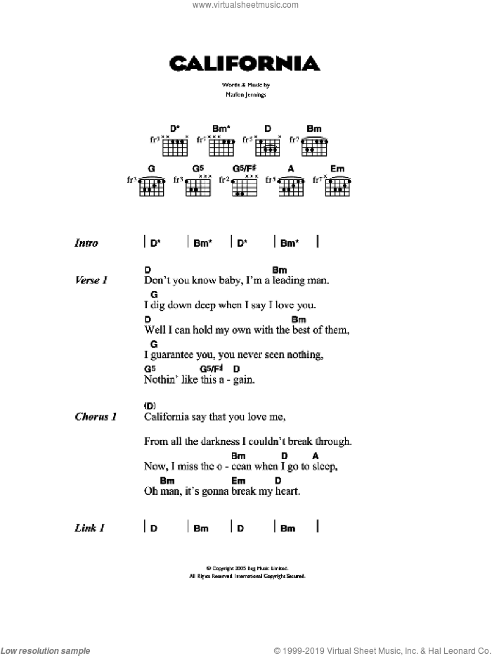 California sheet music for guitar (chords) by The Kooks and Marlon Jennings, intermediate. Score Image Preview.