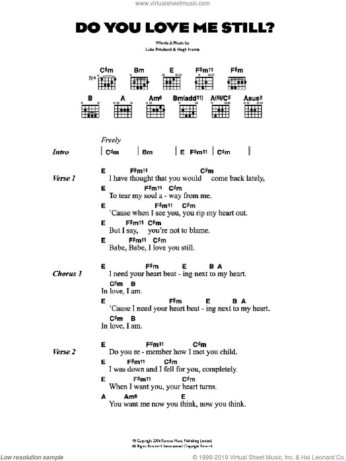 Do You Love Me Still? sheet music for guitar (chords) by Hugh Harris