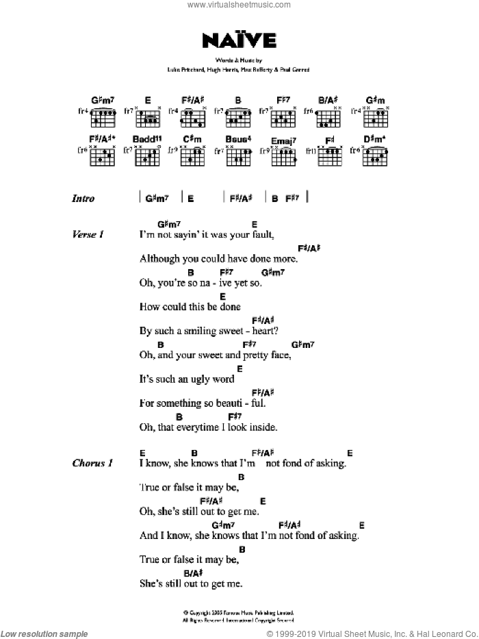 Naive sheet music for guitar (chords) by The Kooks. Score Image Preview.