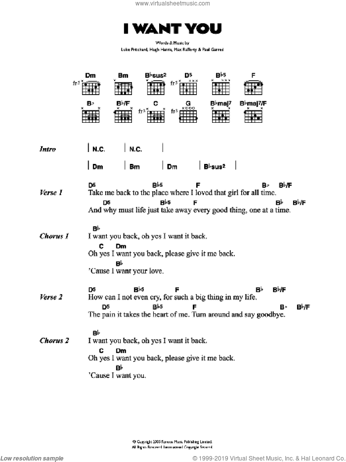 I Want You sheet music for guitar (chords) by The Kooks, intermediate. Score Image Preview.