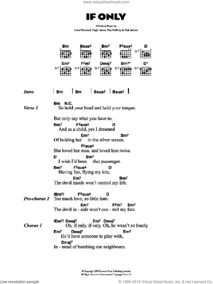 If Only sheet music for guitar (chords) by The Kooks, Hugh Harris, Luke Pritchard, Max Rafferty and Paul Garred, intermediate skill level