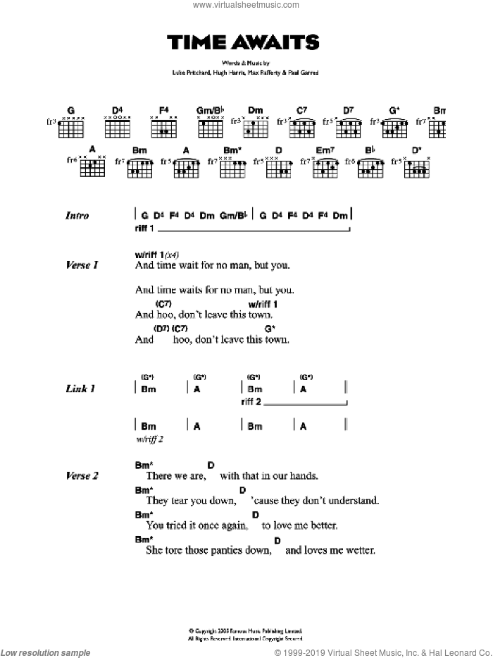 Time Awaits sheet music for guitar (chords) by Hugh Harris, The Kooks, Luke Pritchard and Paul Garred. Score Image Preview.