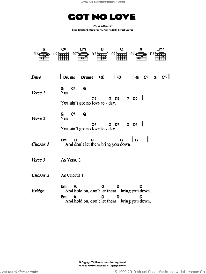 Got No Love sheet music for guitar (chords) by Hugh Harris