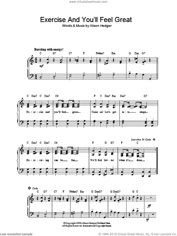 Exercise And You'll Feel Great sheet music for piano solo by Alison Hedger, easy. Score Image Preview.
