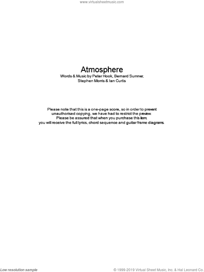 Atmosphere sheet music for guitar (chords) by Joy Division, Bernard Sumner, Peter Hook and Stephen Morris. Score Image Preview.