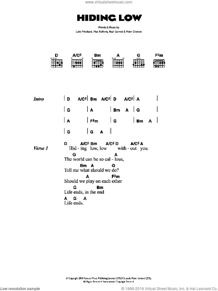 Hiding Low sheet music for guitar (chords) by Luke Pritchard, The Kooks and Paul Garred. Score Image Preview.