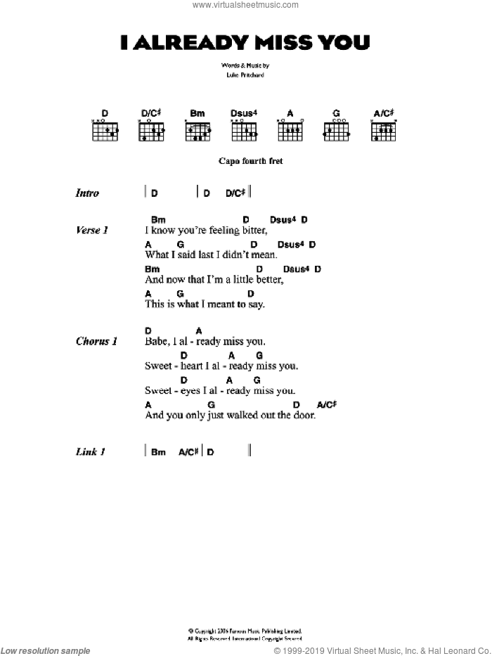 I Already Miss You sheet music for guitar (chords) by The Kooks and Luke Pritchard, intermediate. Score Image Preview.