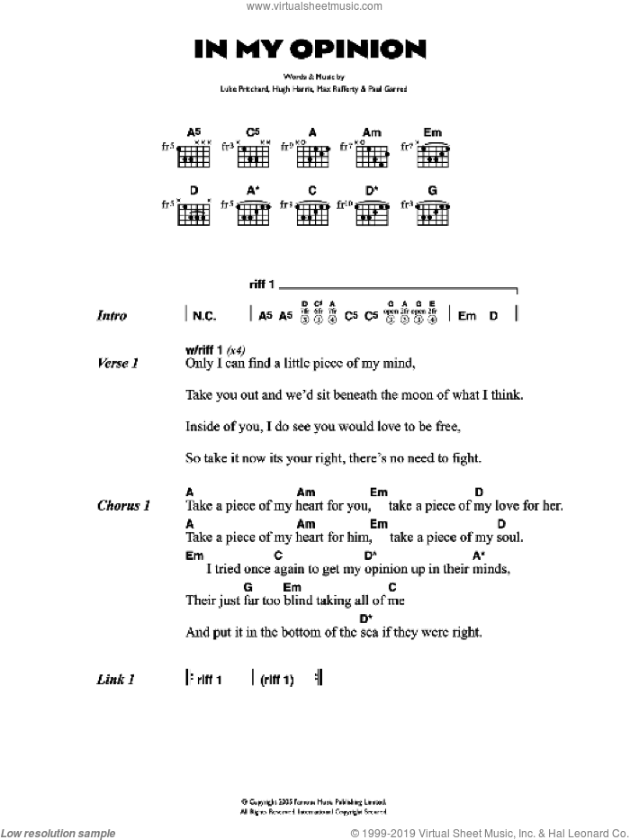 In My Opinion sheet music for guitar (chords) by Hugh Harris, The Kooks, Luke Pritchard and Paul Garred. Score Image Preview.