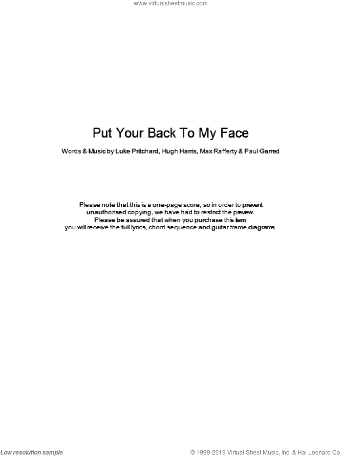 Put Your Back To My Face sheet music for guitar (chords) by Hugh Harris