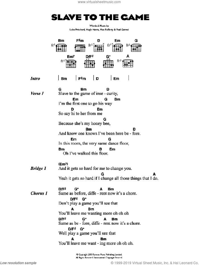 Slave To The Game sheet music for guitar (chords) by Hugh Harris