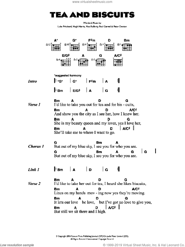 Tea And Biscuits sheet music for guitar (chords) by Hugh Harris, The Kooks, Luke Pritchard and Paul Garred. Score Image Preview.