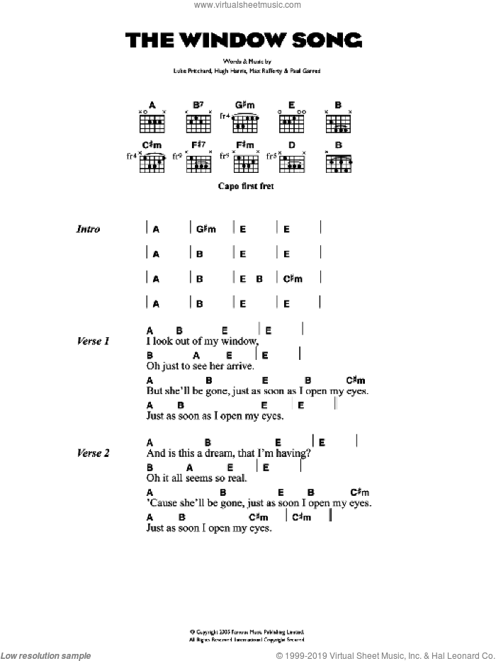 The Window Song sheet music for guitar (chords) by The Kooks, intermediate guitar (chords). Score Image Preview.