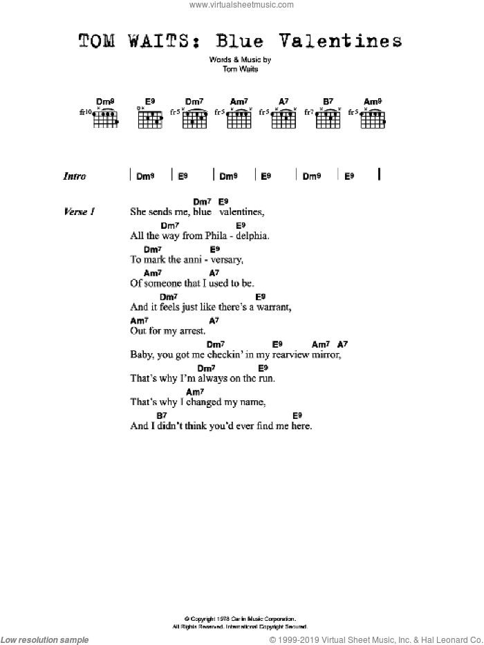 Blue Valentines sheet music for guitar (chords) by Tom Waits. Score Image Preview.