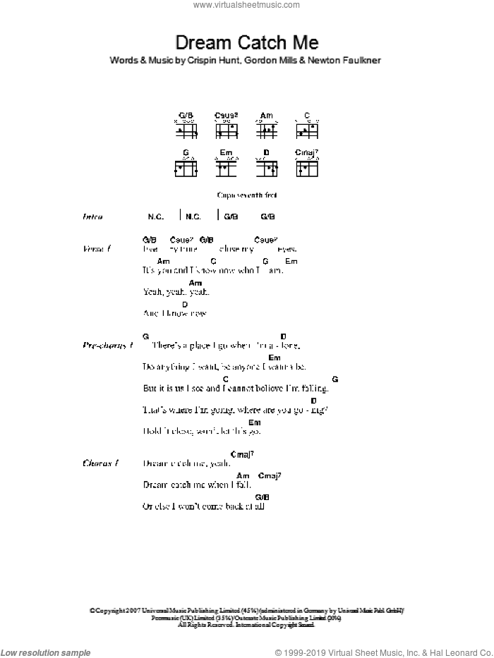 Dream Catch Me sheet music for guitar (chords) by Newton Faulkner, Crispin Hunt and Gordon Mills, intermediate. Score Image Preview.