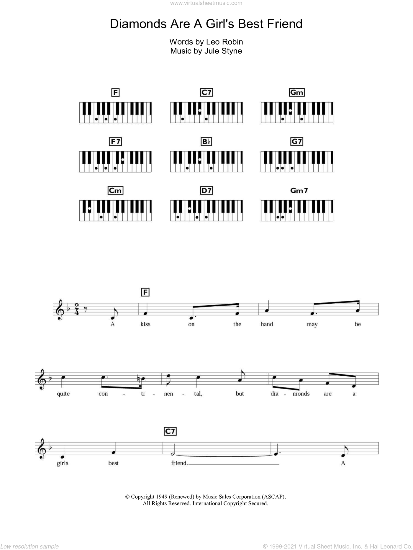 Diamonds Are A Girl's Best Friend sheet music for piano solo (chords, lyrics, melody) by Marilyn Monroe, Jule Styne and Leo Robin, intermediate piano (chords, lyrics, melody)
