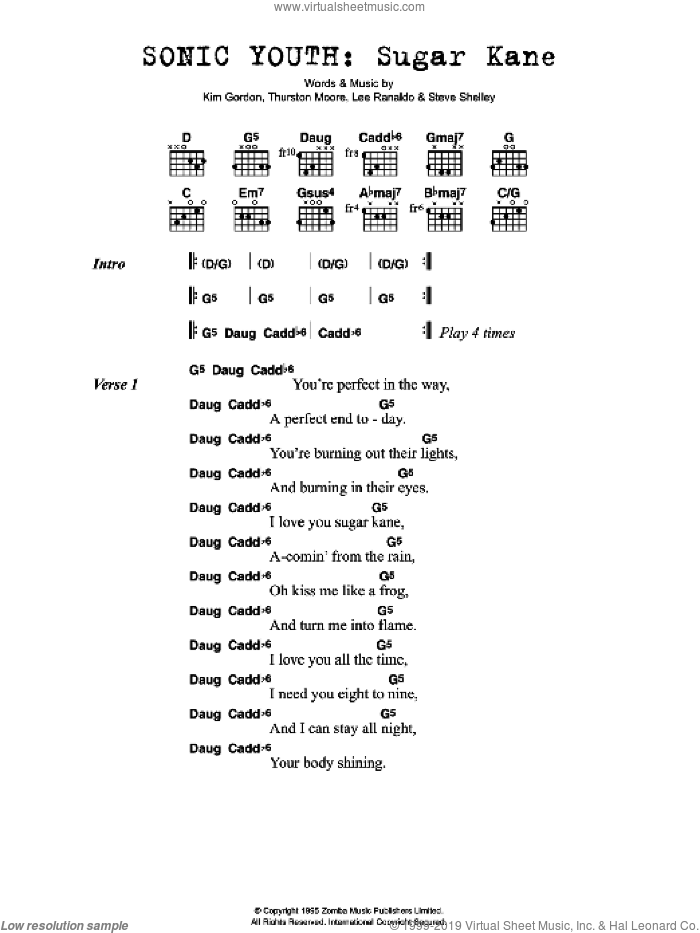 Sugar Kane sheet music for guitar (chords, lyrics, melody) by Kim Gordon