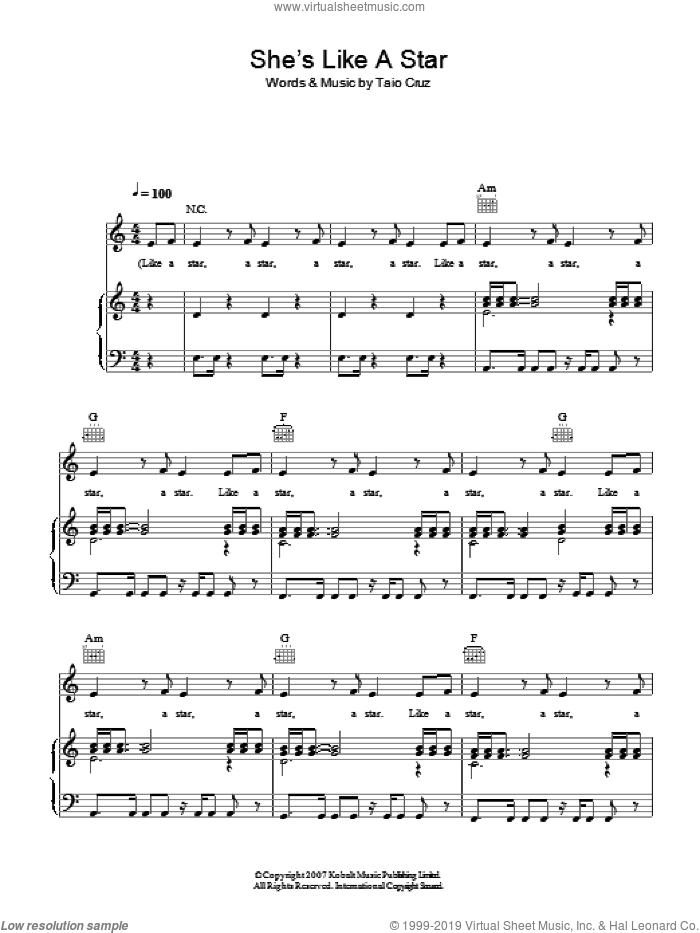 She's Like A Star sheet music for voice, piano or guitar by Taio Cruz. Score Image Preview.