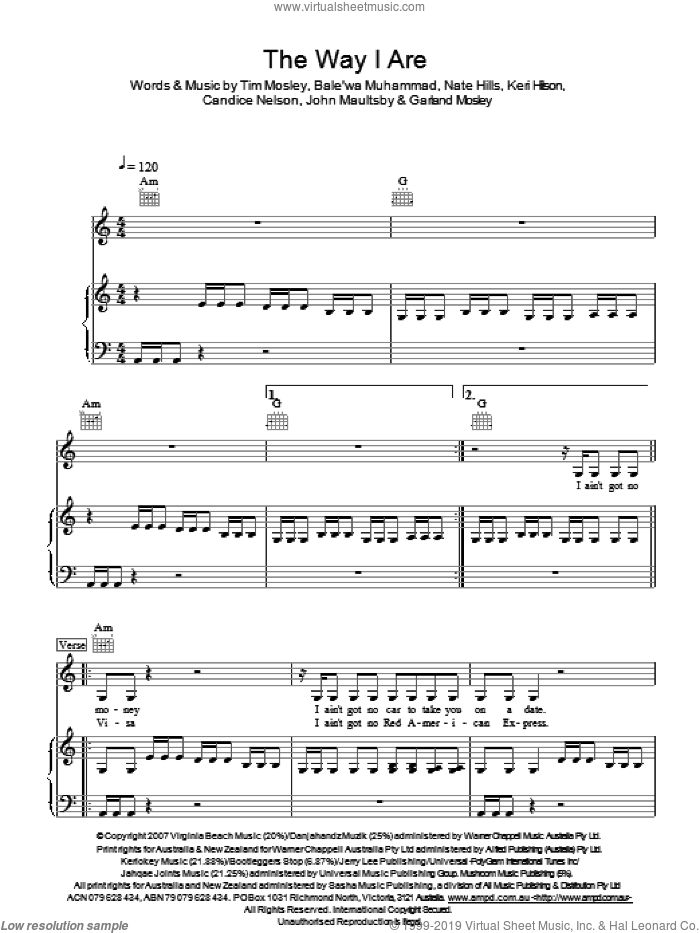 The Way I Are sheet music for voice, piano or guitar by Bale'wa Muhammad, Timbaland, Nate Hills and Tim Mosley. Score Image Preview.