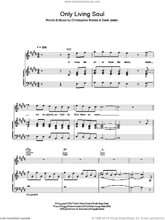 Only Living Soul sheet music for voice, piano or guitar by David Jordan and Chris Braide. Score Image Preview.