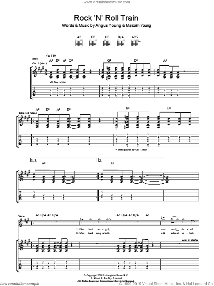 Rock 'N' Roll Train sheet music for guitar (tablature) by Angus Young, AC/DC and Malcolm Young. Score Image Preview.