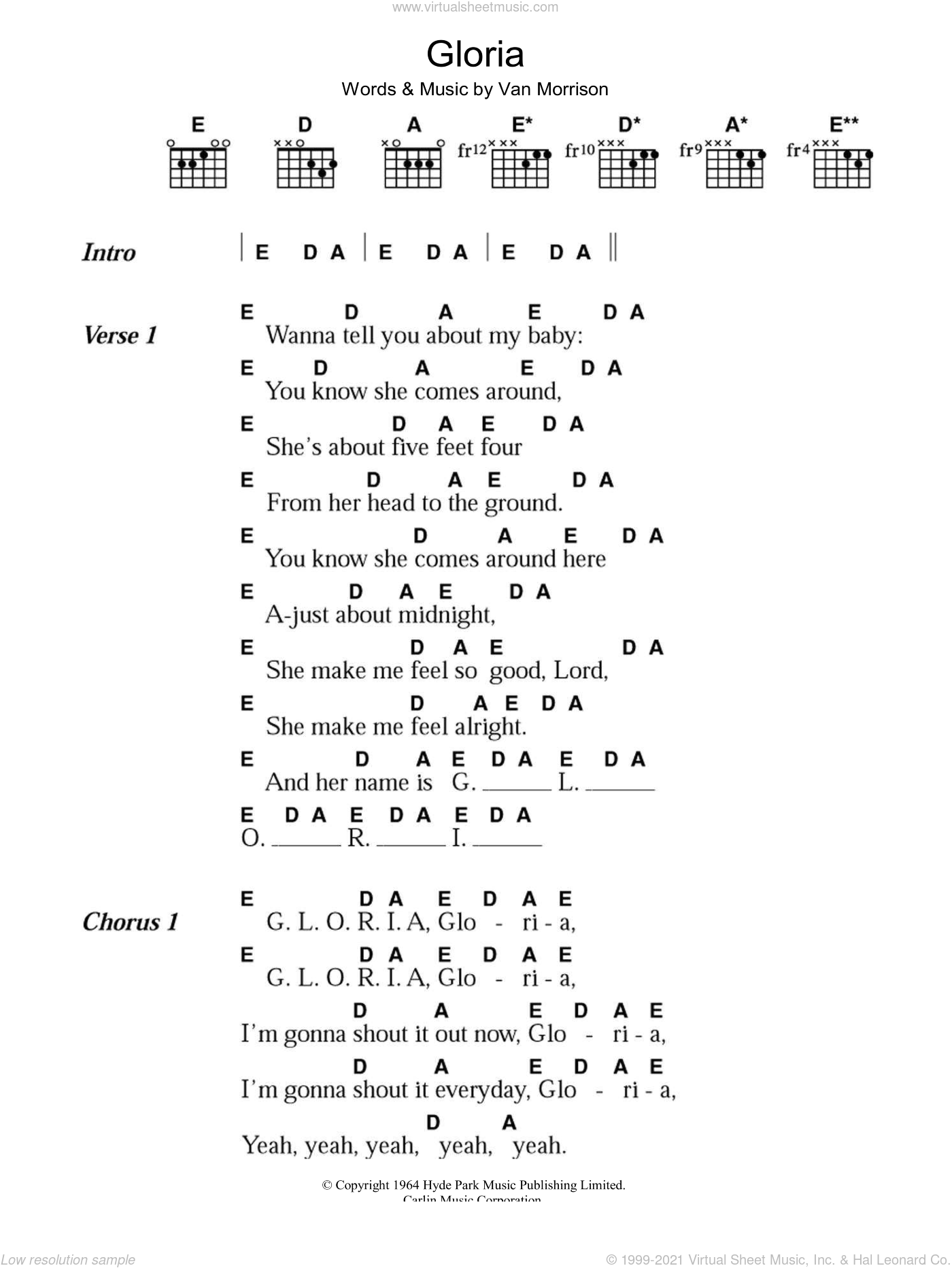 Gloria sheet music for guitar (chords) by Van Morrison. Score Image Preview.