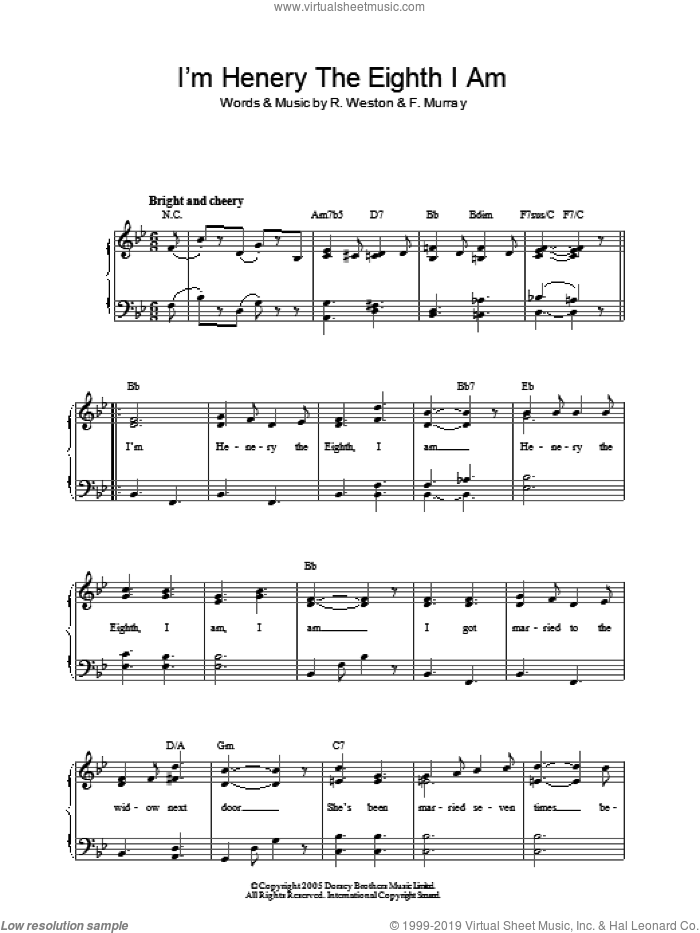 I'm Henery The Eighth I Am sheet music for piano solo by R.P. Weston and Fred Murray. Score Image Preview.