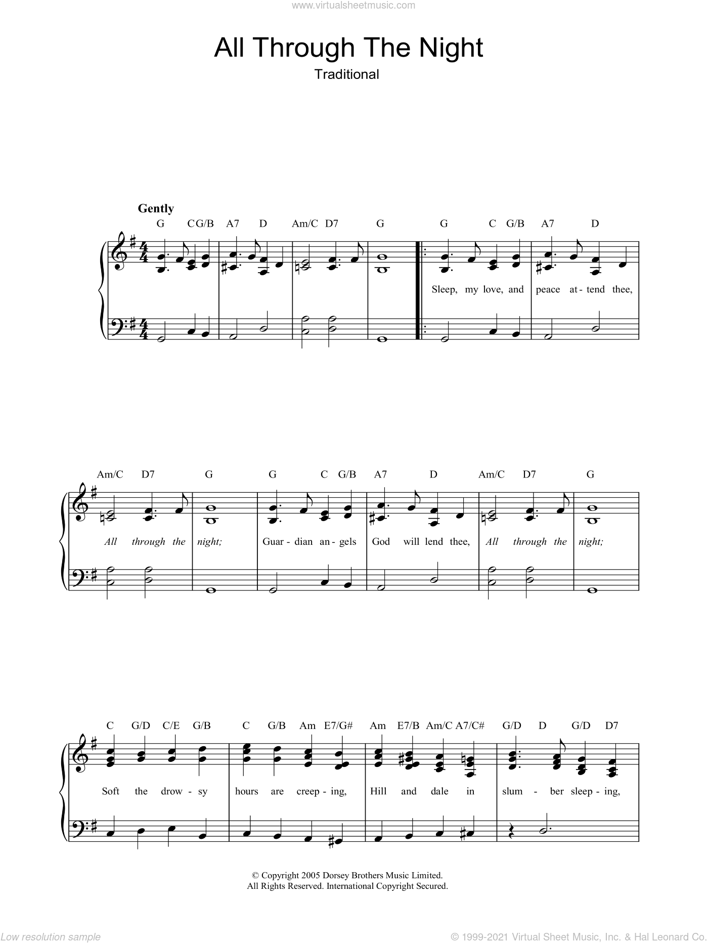 All Through The Night sheet music for piano solo by Traditional Welsh Song and Miscellaneous, easy skill level